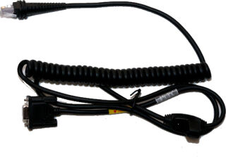 Cable, RS232, coiled, Noir